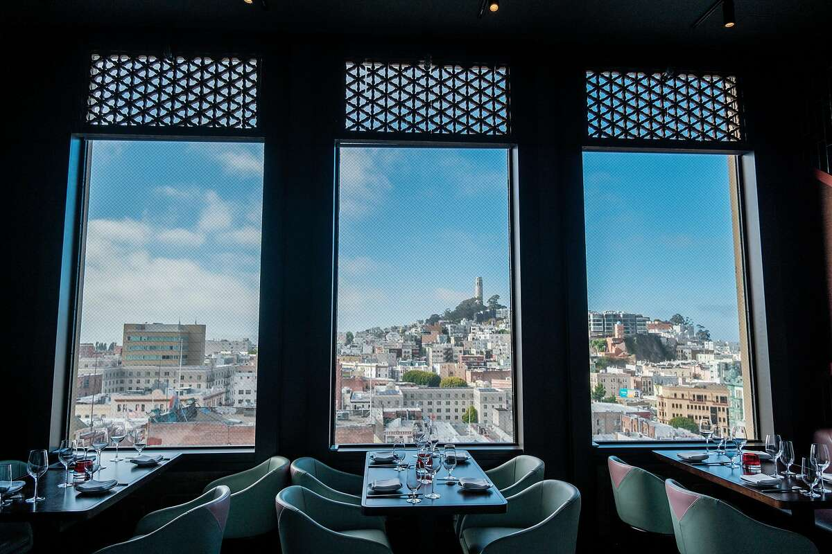 Diners get sweeping views of Telegraph Hill from one of the dining rooms at Empress by Boon in San Francisco.