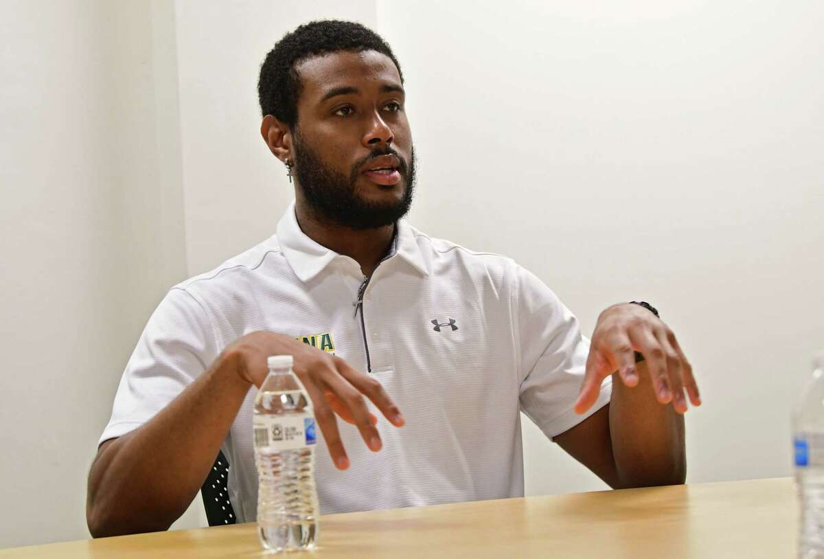 Siena men's basketball player Jordan Kellier talks about when he was discovered for his basketball skills in Jamaica as he is interviewed at the college on Wednesday, June 9, 2021 in Loudonville, N.Y. (Lori Van Buren/Times Union)