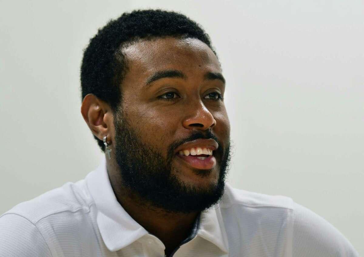 Siena men's basketball player Jordan Kellier is interviewed at the college on Wednesday, June 9, 2021 in Loudonville, N.Y. (Lori Van Buren/Times Union)