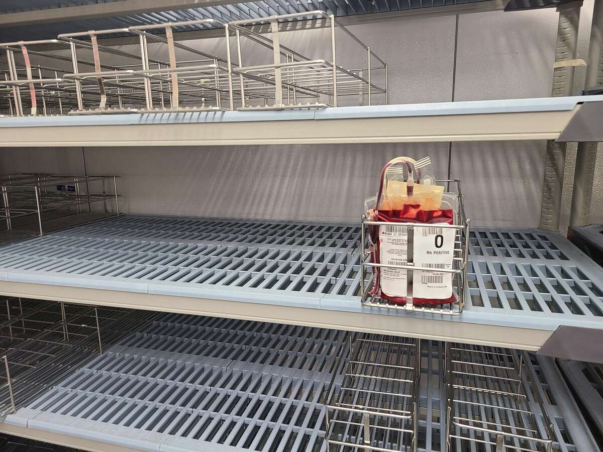 South Texas Blood and Tissue Center snapped a picture of its almost empty blood inventory on Monday.