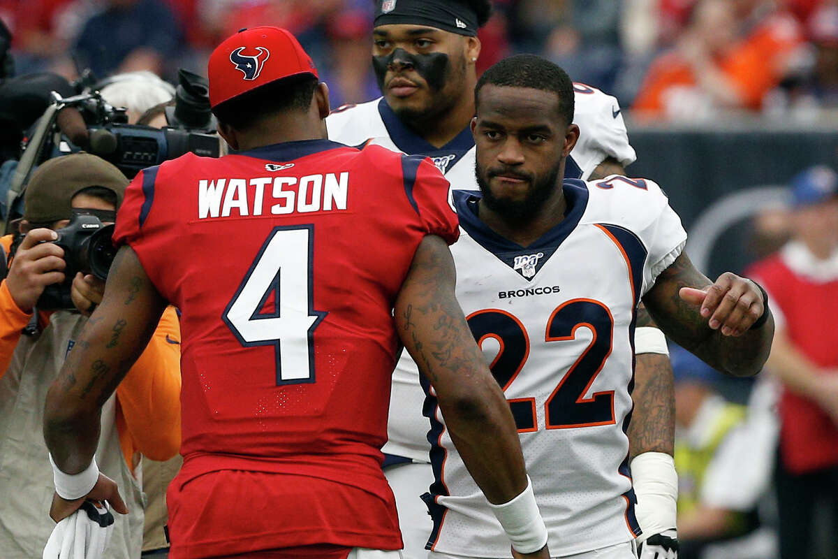 Former Texans teammate Kareem Jackson (22) said Deshaun Watson has expressed a desire to join him in Denver. The Broncos haven't had a franchise quarterback since Peyton Manning left town.