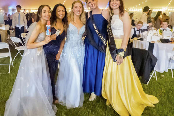 Trumbull High School held its prom under a tent on campus on June 4, 2021.