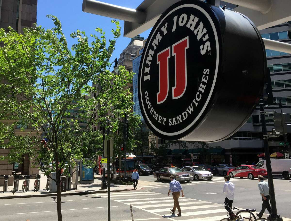 A logo of the sandwich restaurant chain, specializing in delivery Jimmy John's hangs outside one of their shops in downtown Washington, DC, June 9, 2016 (MLADEN ANTONOV/AFP via Getty Images)  However, there are no locations in Alaska, Hawaii or most states in New England.