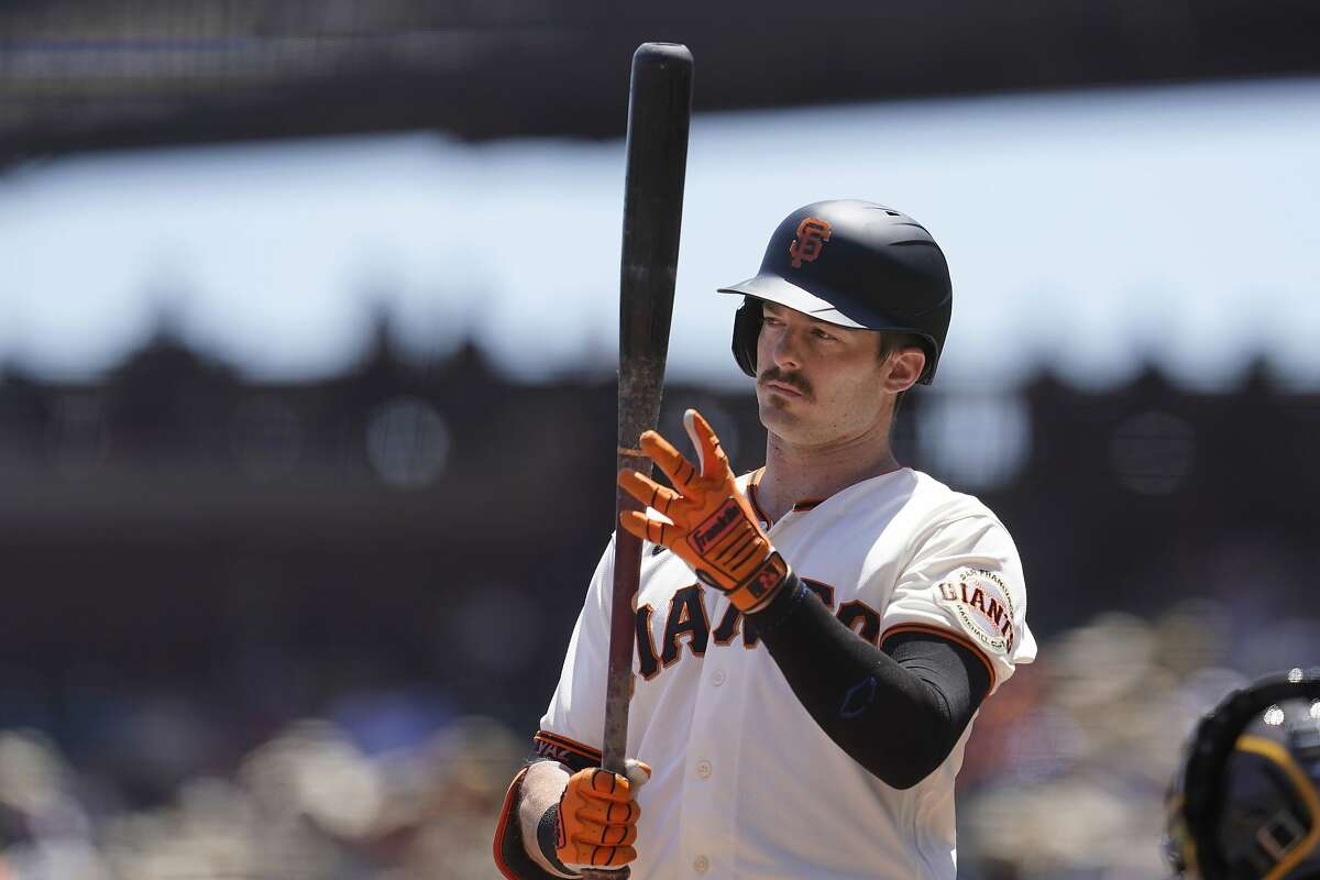 San Francisco Giants' Mike Yastrzemski against the San Diego Padres during a baseball game in San Francisco, Saturday, May 8, 2021. (AP Photo/Jeff Chiu)