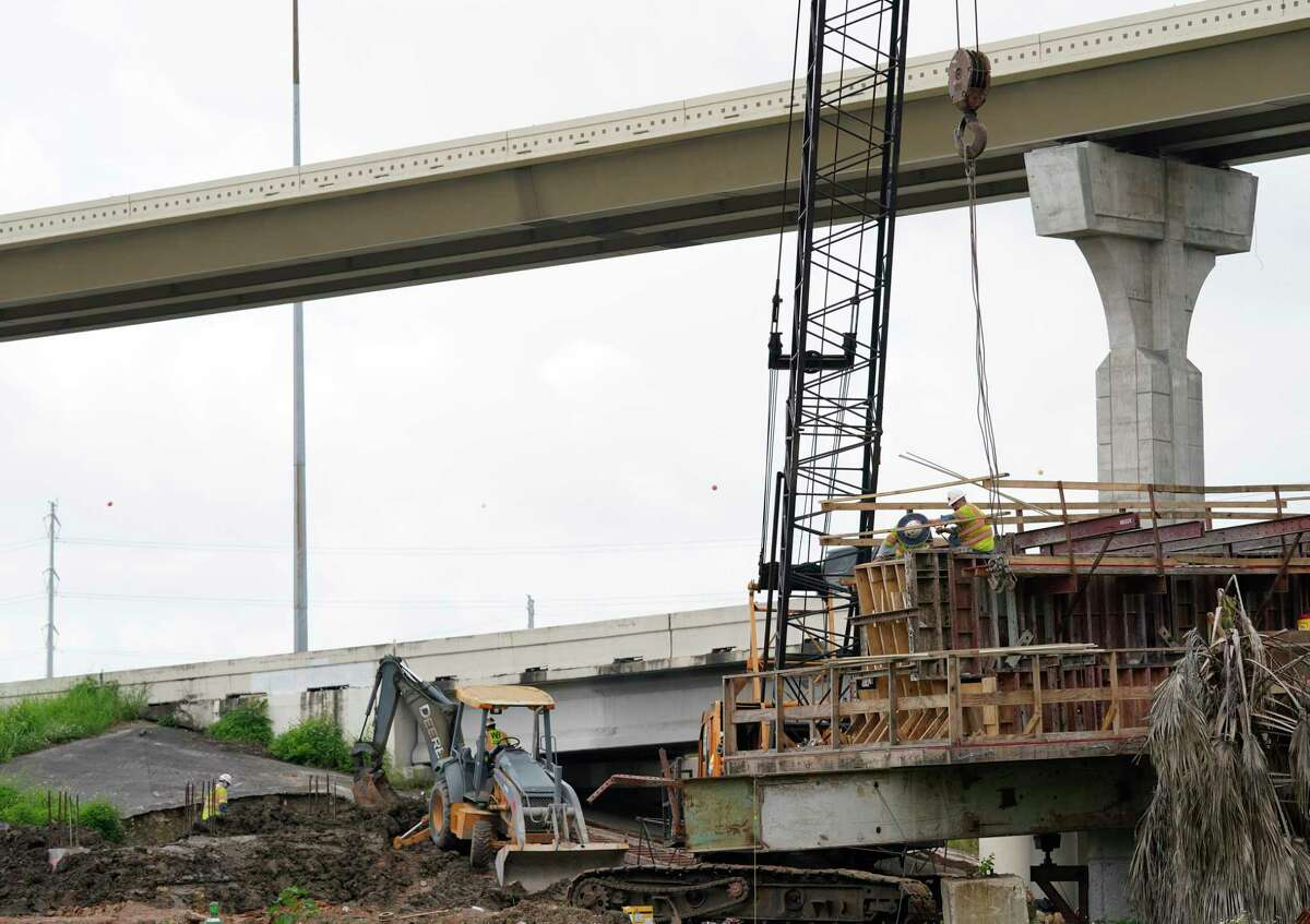 A view of construction is shown from the Loop 610 northbound frontage road Wednesday, June 9, 2021 in Houston.