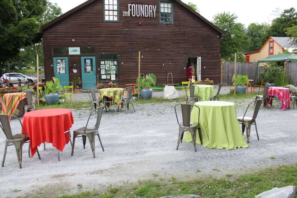 Outdoor seating at The Foundry in West Stockbridge. (credit: Noah Lewis Bailey)