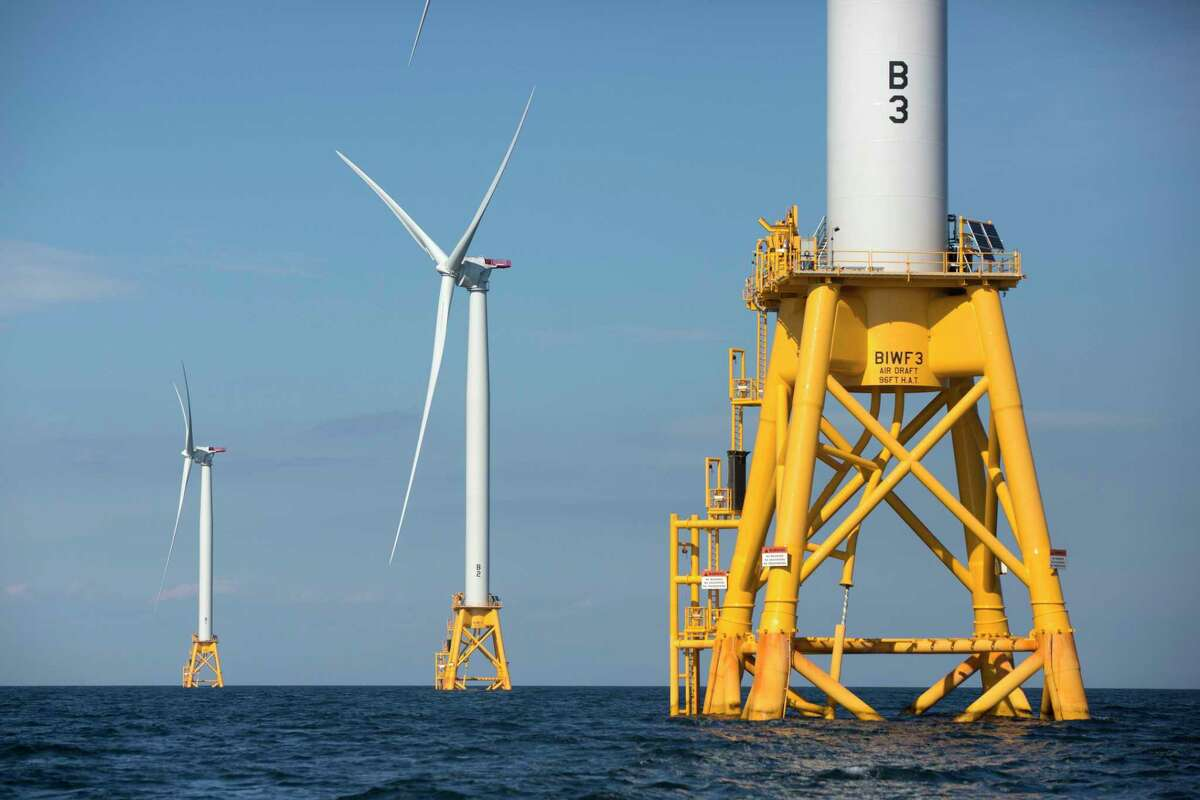 Wind turbines in the water off Block Island, R.I, the nation's first offshore wind farm. The Biden administration wants to know whether offshore wind companies want to move into the Gulf of Mexico. The Interior Department said last month that an agency overseeing offshore leases will seek requests for interest from companies.