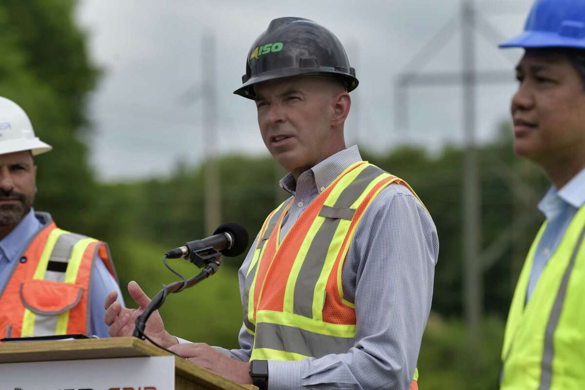 Rich Dewey, president and CEO of NYISO, speaks at a press event at the site where a new substation is being constructed on Wednesday, June 9, 2021, in Schenectady, N.Y. The work is part of the Central East Energy Connect transmission upgrade project. (Paul Buckowski/Times Union)