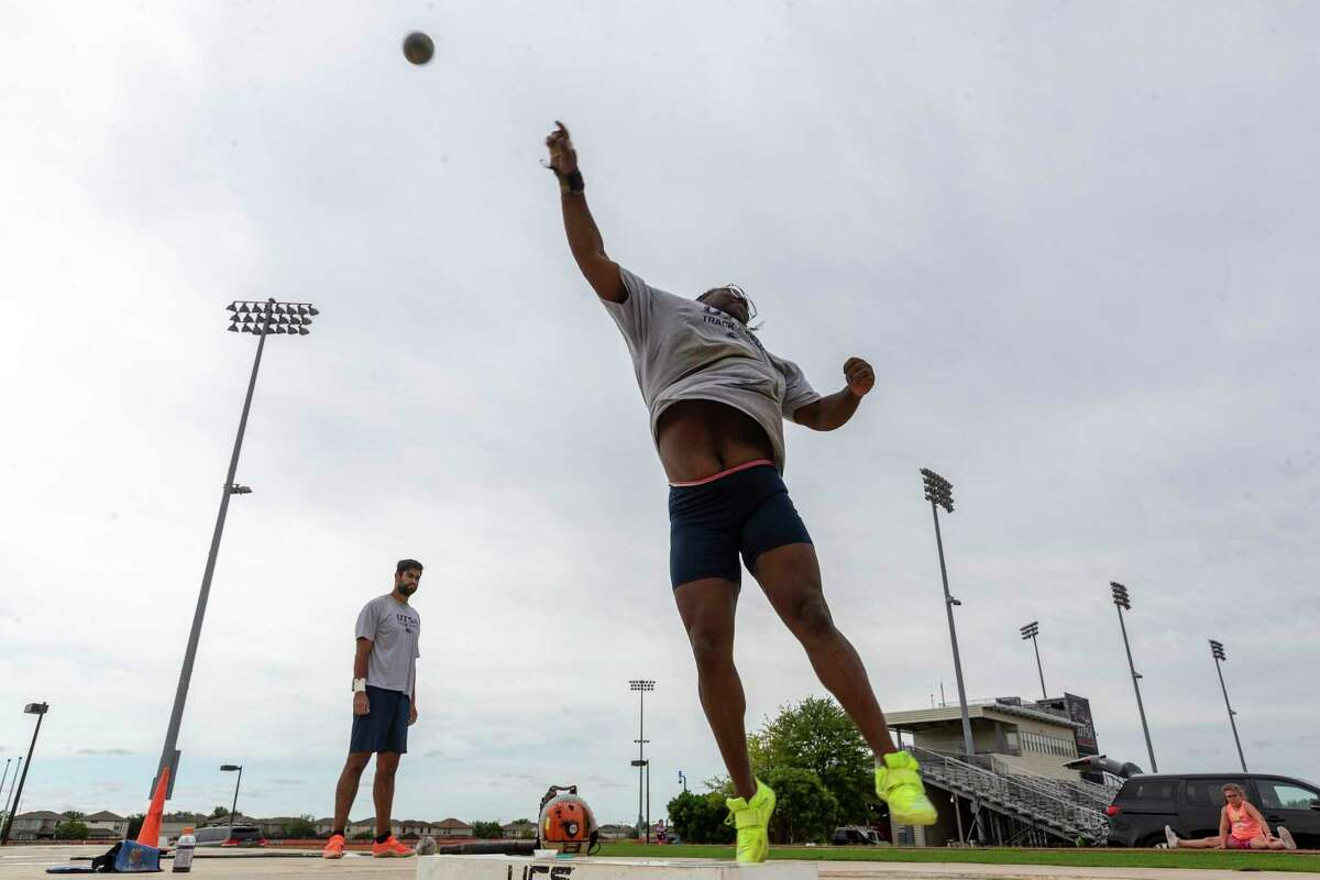 UTSA shot put athlete Maia Campbell practices Tuesday, June 1, 2021 at the UTSA Park West Athletics Complex as she prepares to compete in the NCAA Outdoor Championships on June 9-12 in Eugene, Ore.