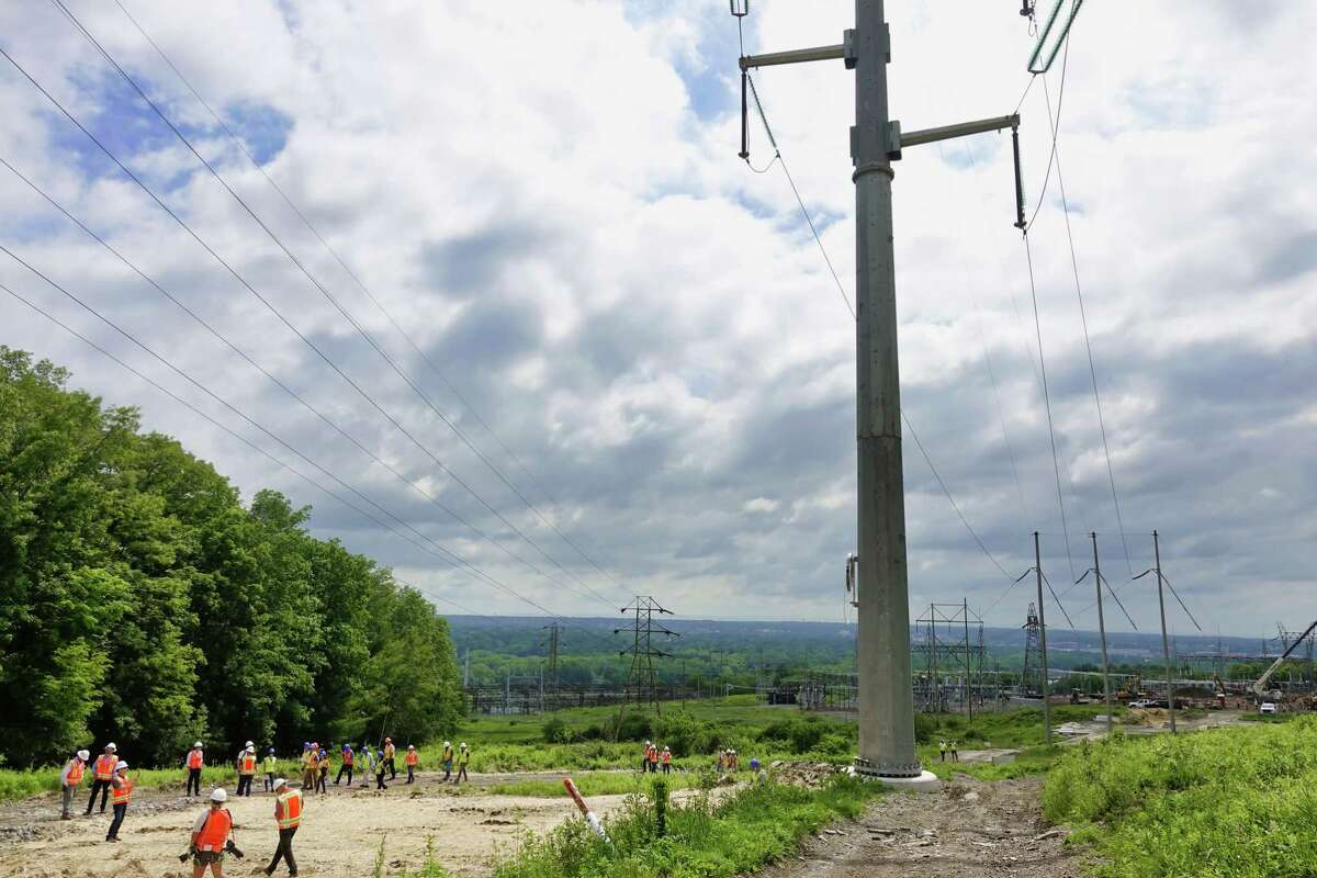 A view of one of the newly installed monopoles, supporting transmission lines, seen here at the site where a new substation is being constructed on Wednesday, June 9, 2021, in Schenectady, N.Y. The work is part of the Central East Energy Connect transmission upgrade project. (Paul Buckowski/Times Union)