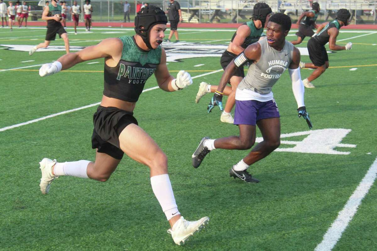 Kingwood Park wide receiver Hayden Bender running routes during a 7on7 tournament at Panthers Stadium.