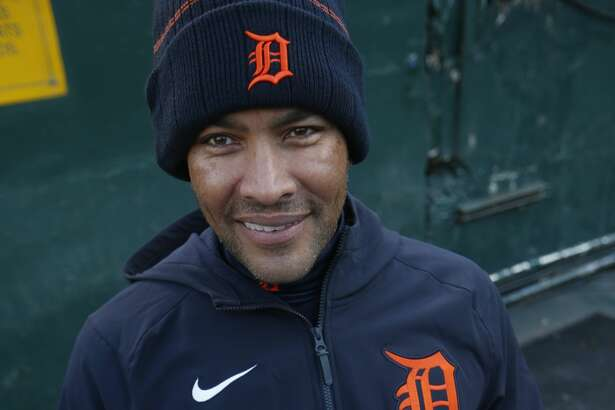 Coach Jose Cruz Jr., of the Detroit Tigers in the dugout before the game against the Oakland Athletics at RingCentral Coliseum on April 16, 2021 in Oakland, California. (Photo by Michael Zagaris/Oakland Athletics/Getty Images)
