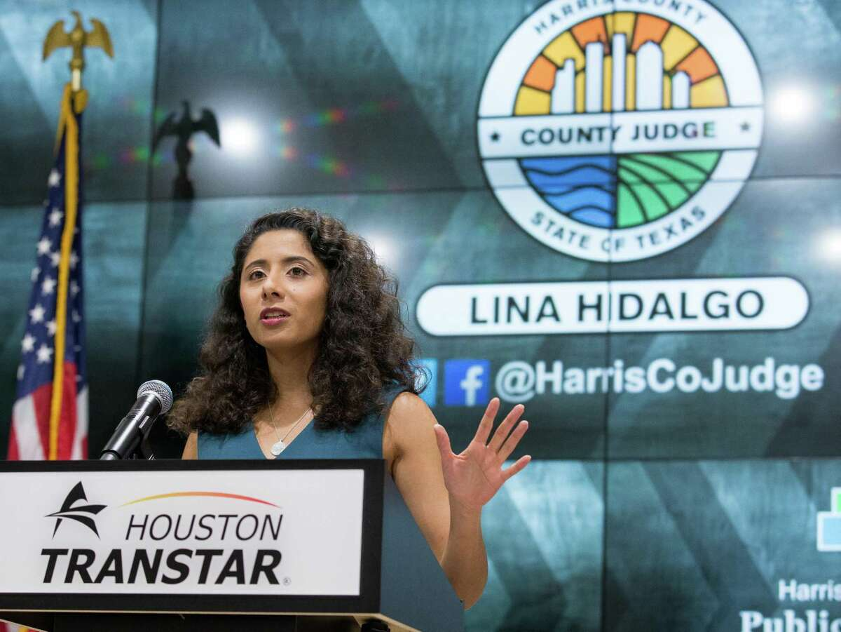 Harris County Judge Lina Hidalgo talks to reporters last month during a press conference to announce the recent COVID-19 trends and provide an update on the county's threat level. On Tuesday, Hidalgo said the county's 14-day average COVID test positivity rate has fallen below 5 percent.