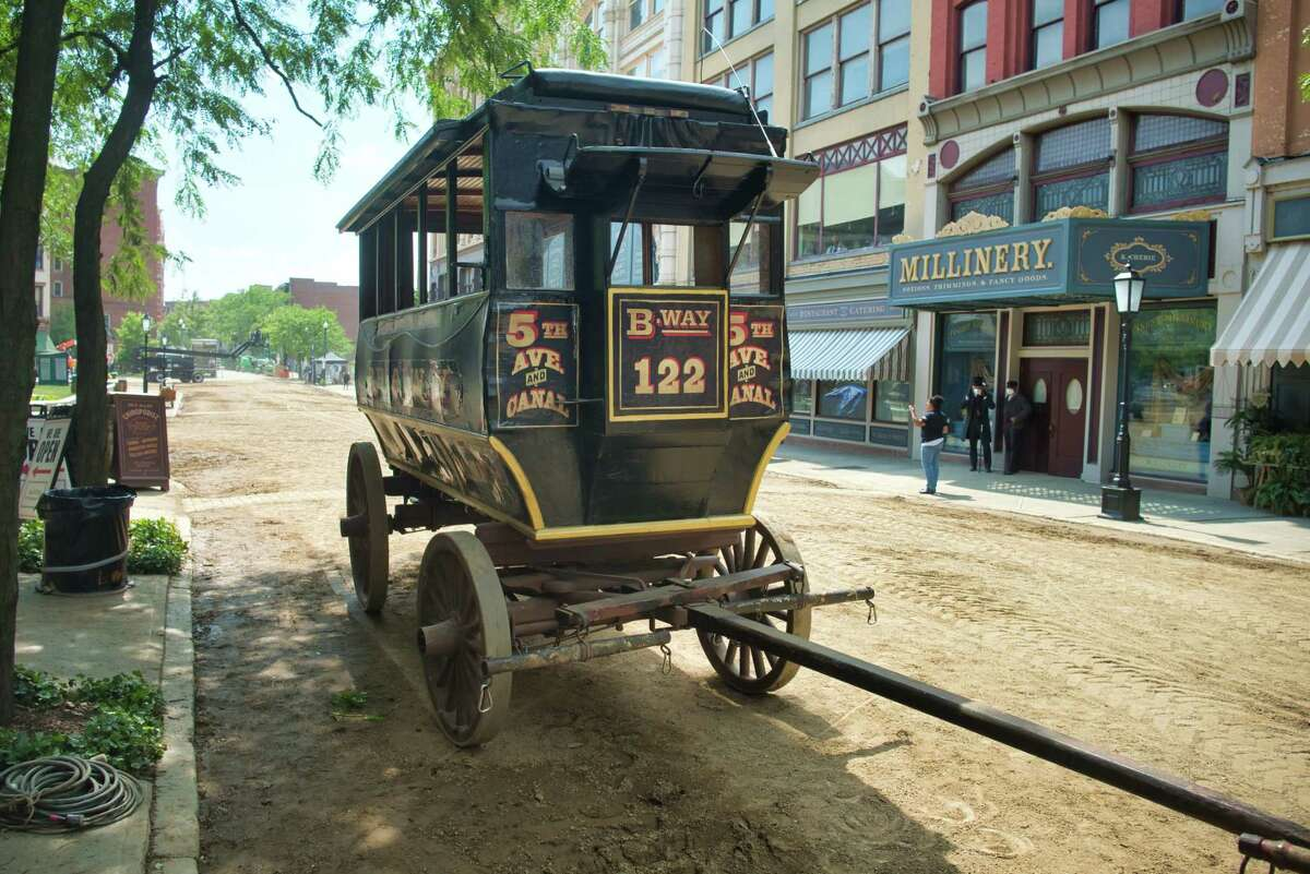 A view of a carriage used in the filming for the HBO show The Gilded Age seen here in downtown Troy near Monument Square on Wednesday, June 9, 2021, in Troy, N.Y. (Paul Buckowski/Times Union)