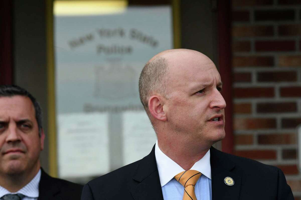 Capt. Robert Appleton, New York State Police Troop G Bureau of Criminal Investigation, gives a news briefing on the Jay Herrington Road homicide on Wednesday, June 9, 2021, at the barracks in Brunswick, N.Y. (Will Waldron/Times Union)