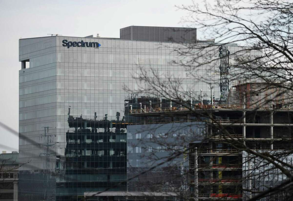 Construction continues on the new Charter Communications headquarters in Stamford, Conn. Thursday, Jan. 21, 2021.