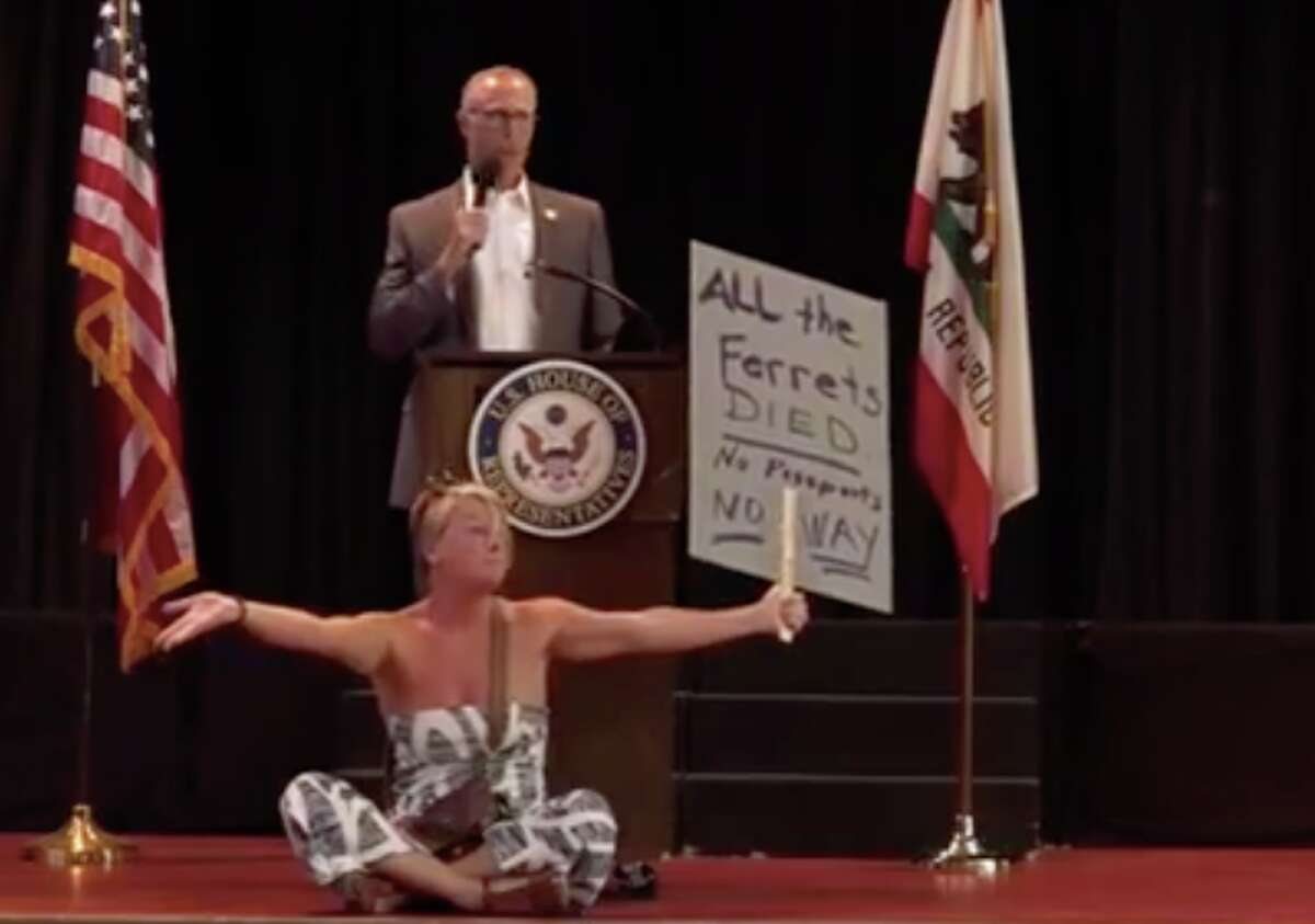 Anti-vaccine demonstrators disrupted Rep. Jared Huffman's town hall on Tuesday, June 8, 2021.