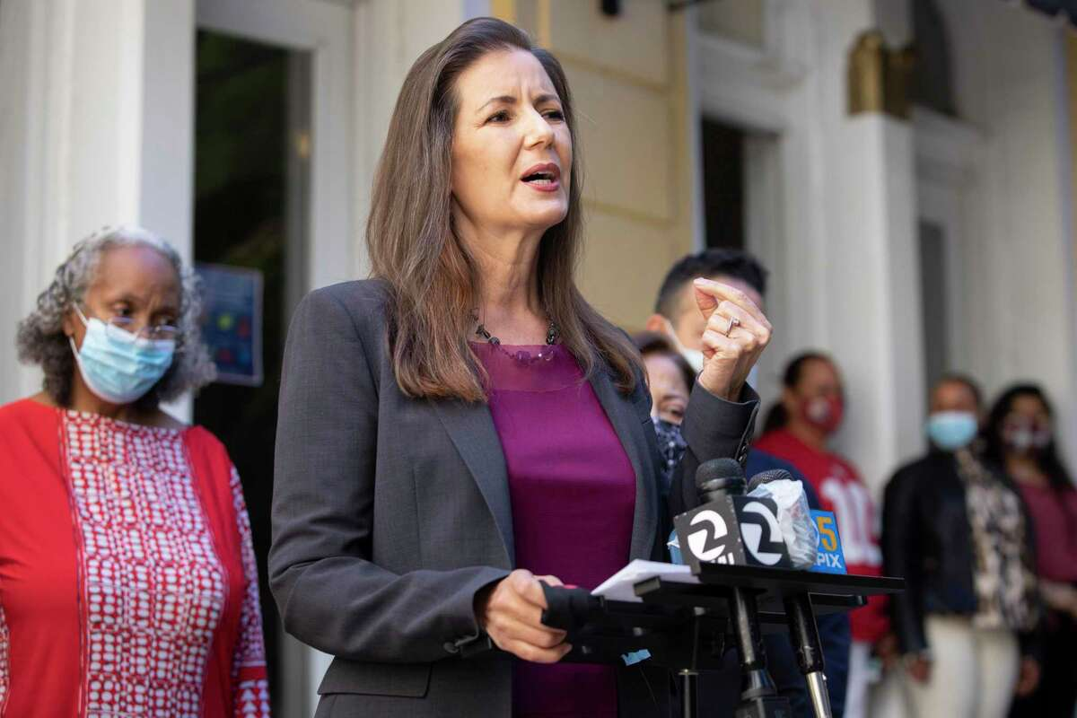 Oakland Mayor Libby Schaaf addresses the crowd during a press conference held outside of Oakland's Lake Merritt Lodge in Oakland, Calif. Wednesday, June 9, 2021. Oakland established Lake Merritt Lodge as a site for emergency COVID-19 response housing, intended to keep our most vulnerable homeless community members safe. The building is now at full occupancy.