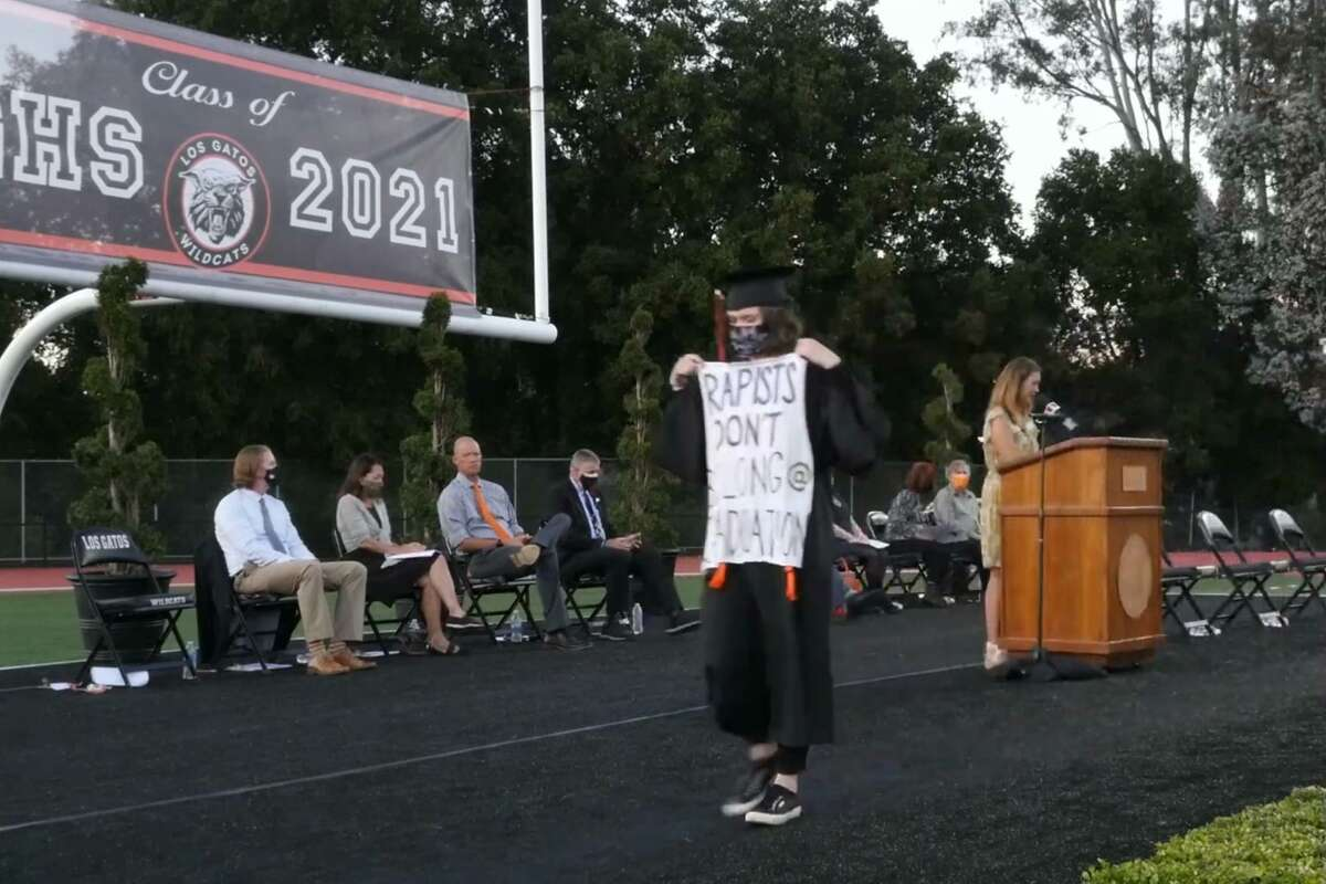 Sofia Rossi graduated from Los Gatos High School on June 4, 2021, carrying a sign reading