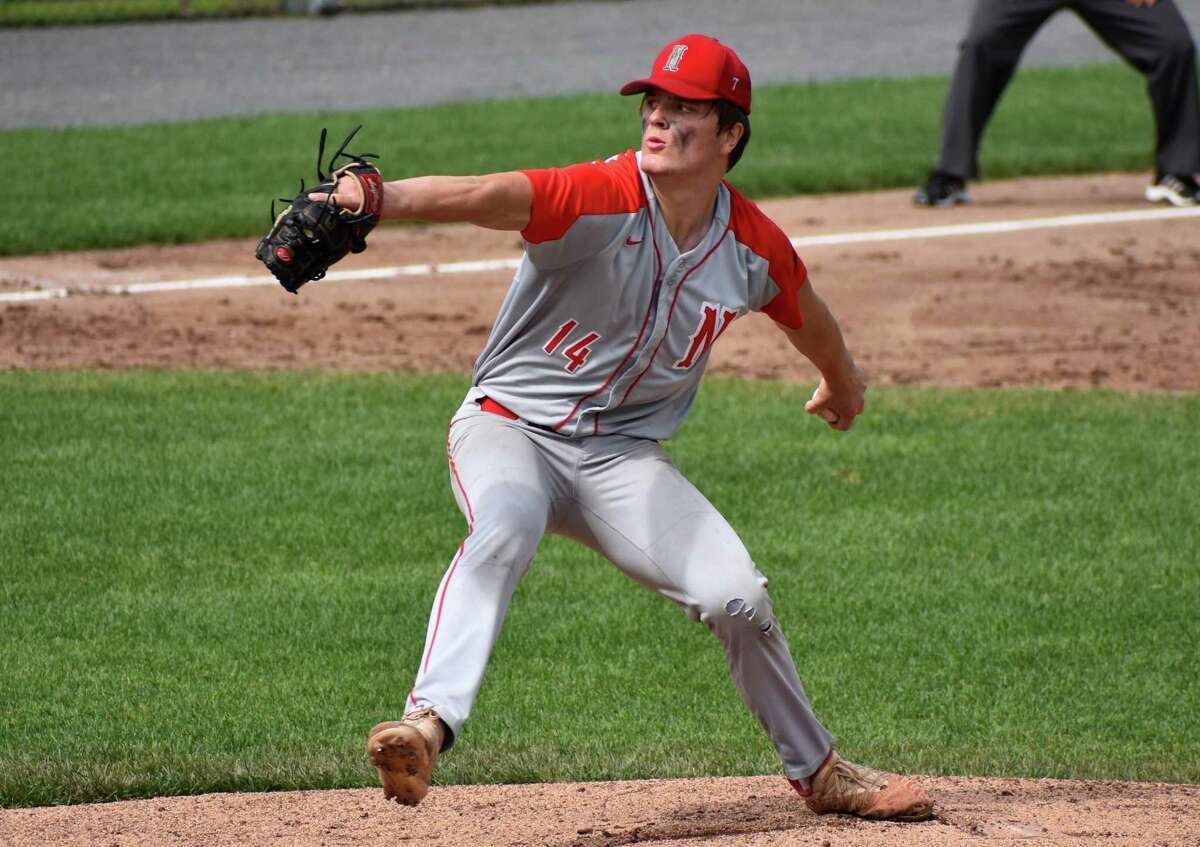 Northwestern's Josh Hamel pitches against Woodland during the Class M baseball semifinals at Muzzy Field in Bristol on Wednesday.