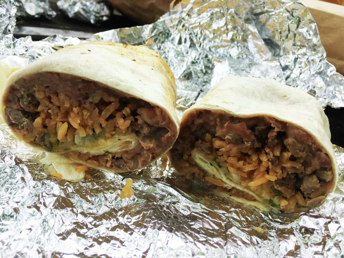 A steak burrito from Benni's Tacos