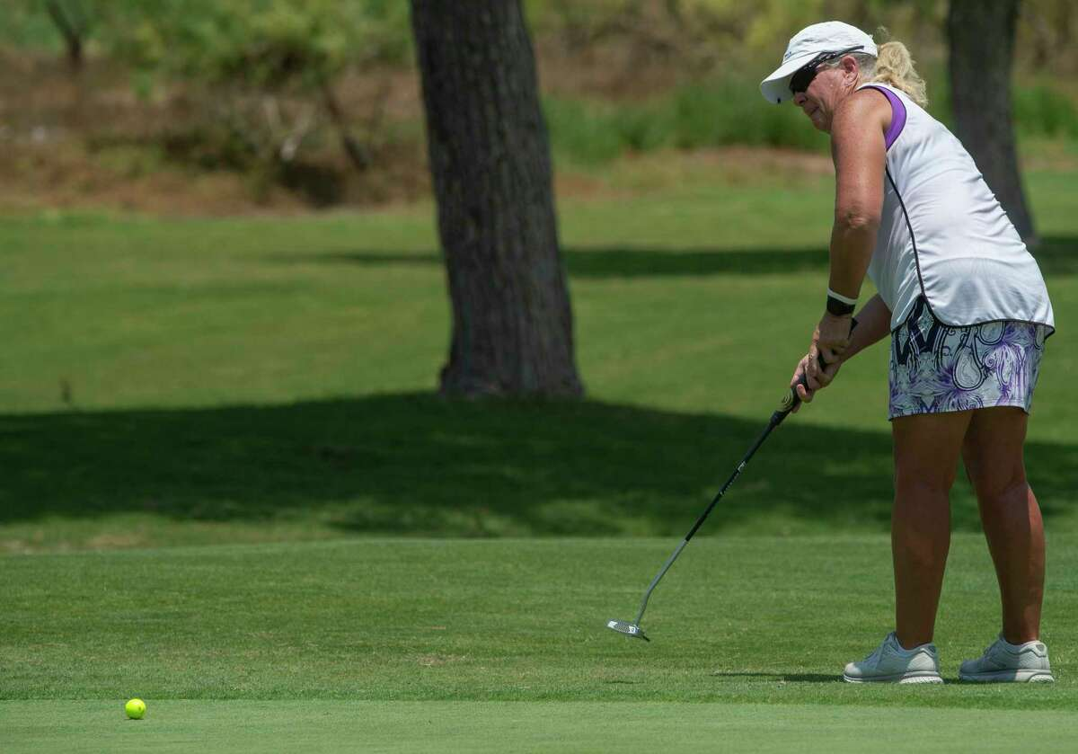 Jennifer Hoyt follows her putt 06/09/2021 during the second round of the Women's West Texas Tournament at Midland Country Club. Tim Fischer/Reporter-Telegram