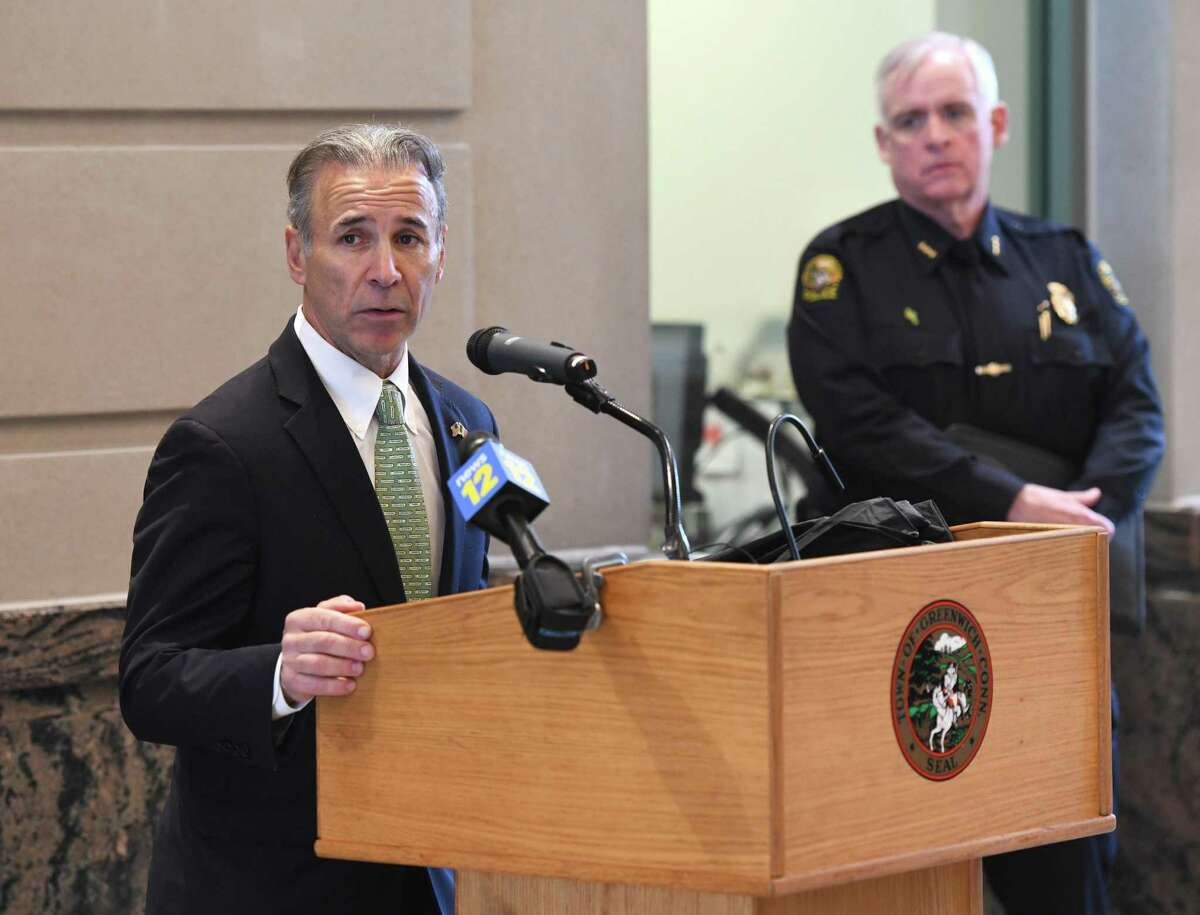 First Selectman Fred Camillo, seen here with Chief of Police James Heavey at a March 2020 COVID-19 briefing, said the town is finally able to scale down its response to the pandemic as cases continue to fall state-wide.
