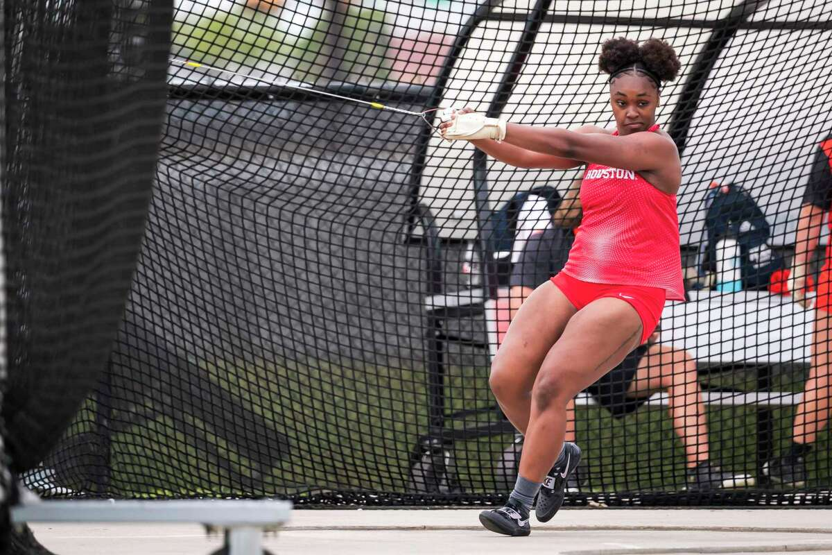 Mikaila Martin has balanced being a mother to Camryn, 3, and being an athlete at UH where she will compete in NCAA hammer throw this week.