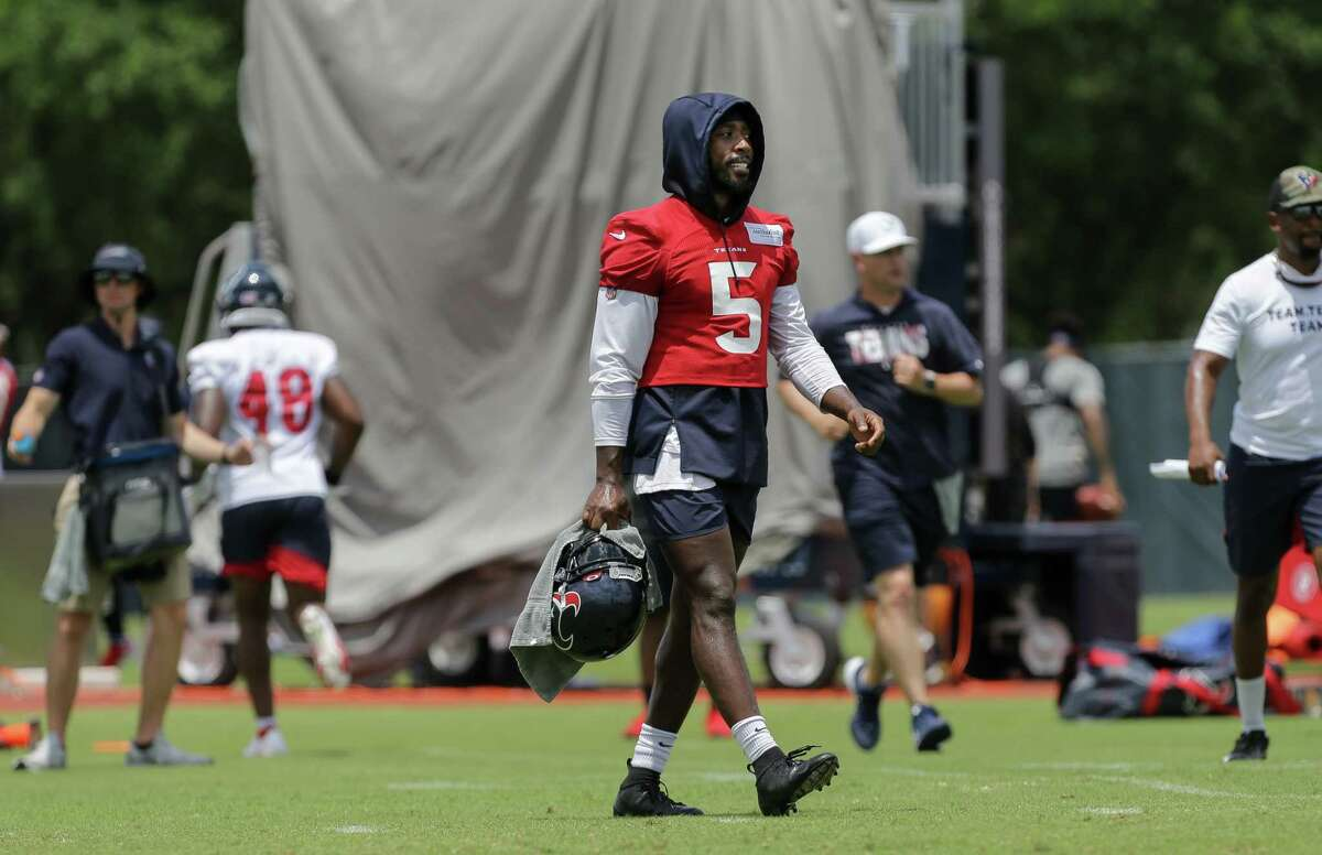 Houston Texans quarterback Tyrod Taylor (5) can be seen during an OTA practice at Houston Methodist Training Center on Wednesday, June 9, 2021, in Houston.