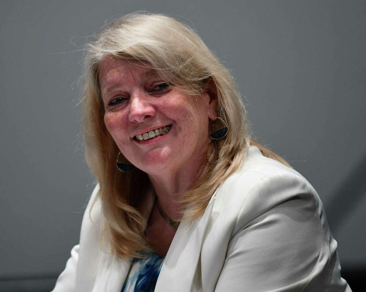 Four-year City Council candidate Karen Zalewski-Wildzunas is seen at Proctors ahead of June 22 Democratic primary on Wednesday, June 9, 2021 in Schenectady, N.Y. (Lori Van Buren/Times Union)