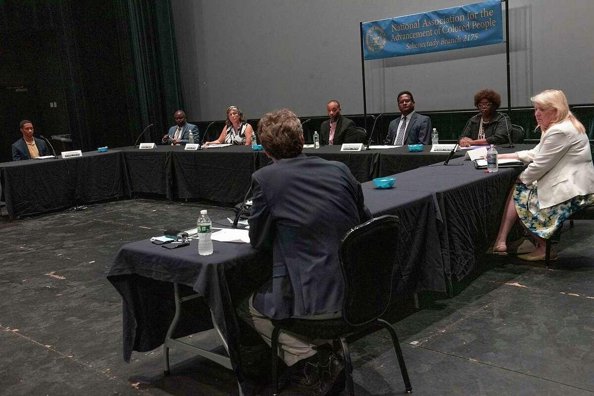 Schenectady City Council candidate Marion participate in a forum at Proctors ahead of the June 22 Democratic primary on Wednesday, June 9, 2021 in Schenectady, N.Y. (Lori Van Buren/Times Union)