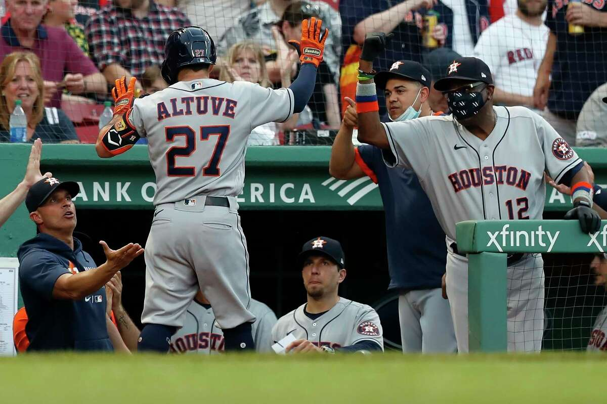 Jose Altuve accepts congratulations after his third-inning homer tied the score Tuesday. The Astros didn't trail again in beating the Red Sox for the second straight night and fifth time in six games this season.