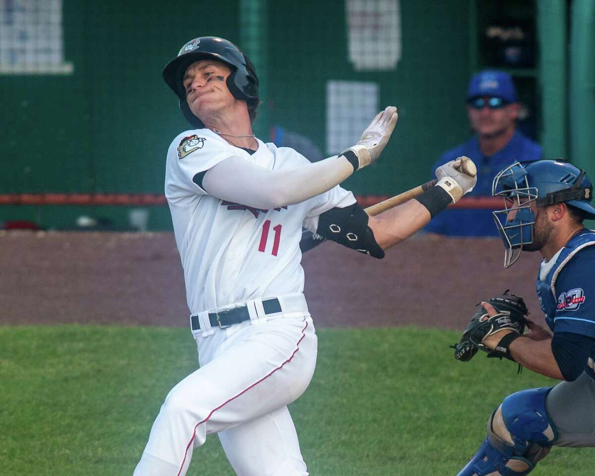 Tri-City ValleyCats second basemen Carson Maxwell takes a cut against the New York Boulders at Joseph L. Bruno Stadium on the Hudson Valley Community College campus in Troy, NY, on Wednesday, June 9, 2021 (Jim Franco/Special to the Times Union)