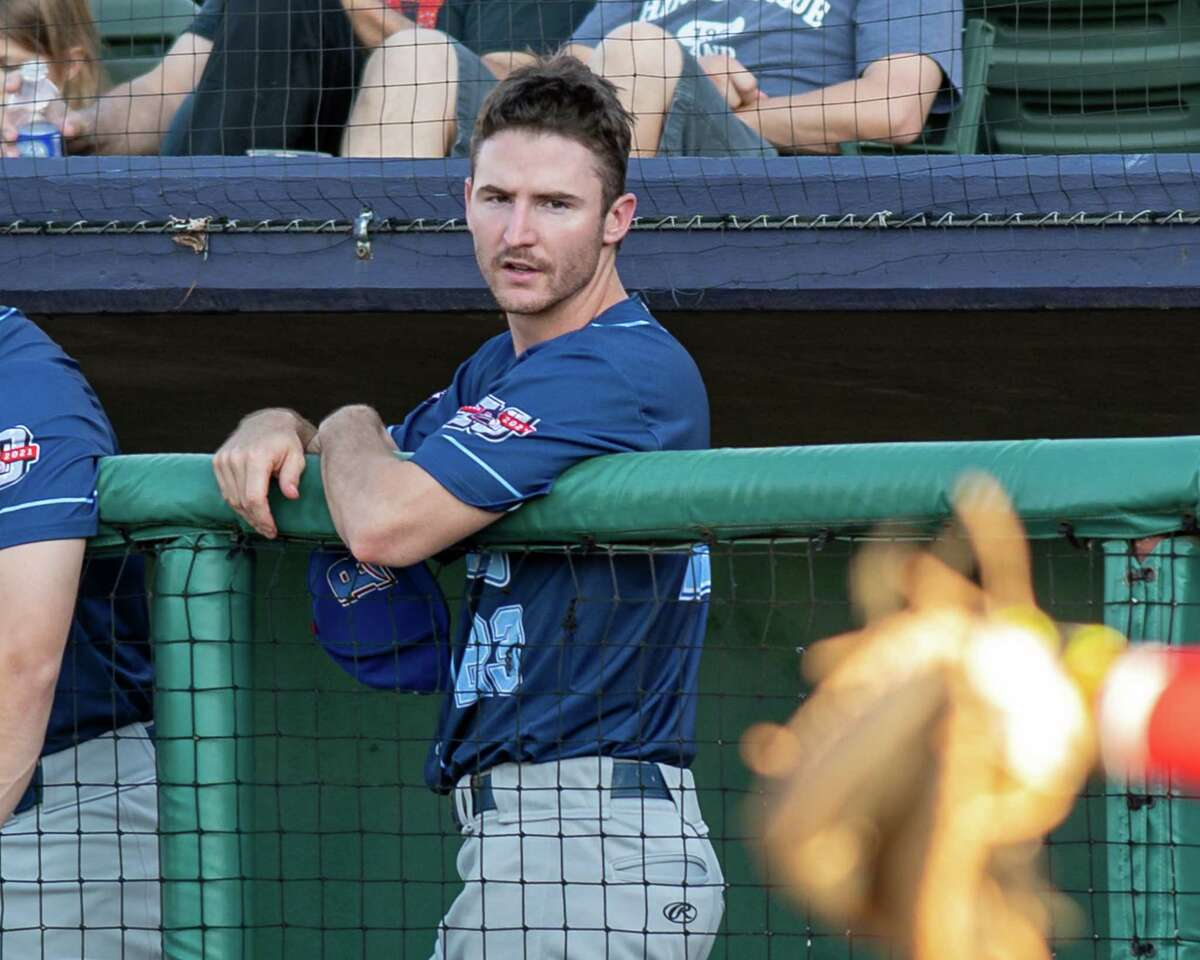 New York Boulders infielder Austin Dennis watches his team play against the Tri-City ValleyCats at Joseph L. Bruno Stadium on the Hudson Valley Community College campus in Troy, NY, on Wednesday, June 9, 2021 (Jim Franco/Special to the Times Union)