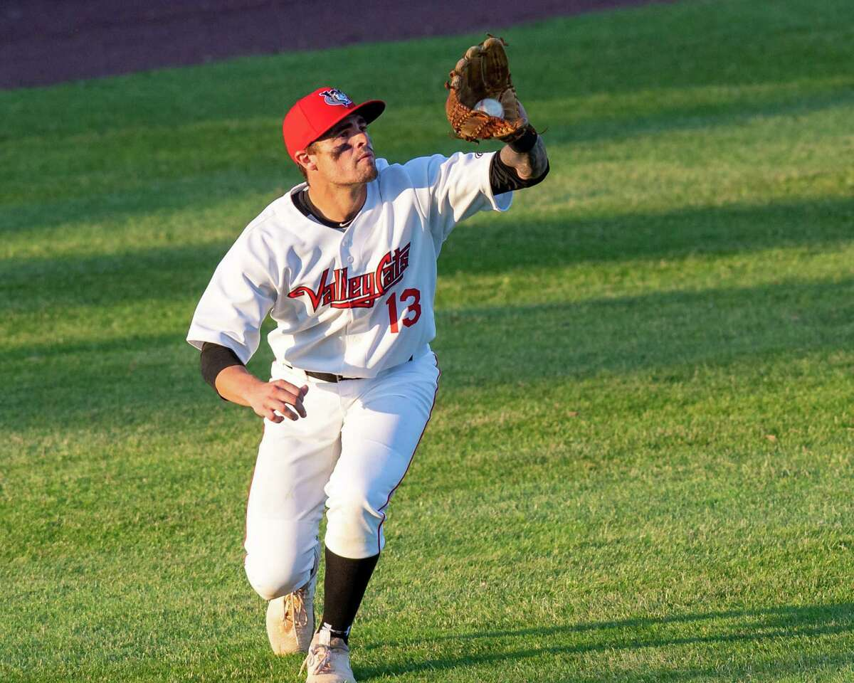 Tri-City ValleyCats leftfielder Mike Gulino makes a running catch against the New York Boulders at Joseph L. Bruno Stadium on the Hudson Valley Community College campus in Troy, NY, on Wednesday, June 9, 2021 (Jim Franco/Special to the Times Union)
