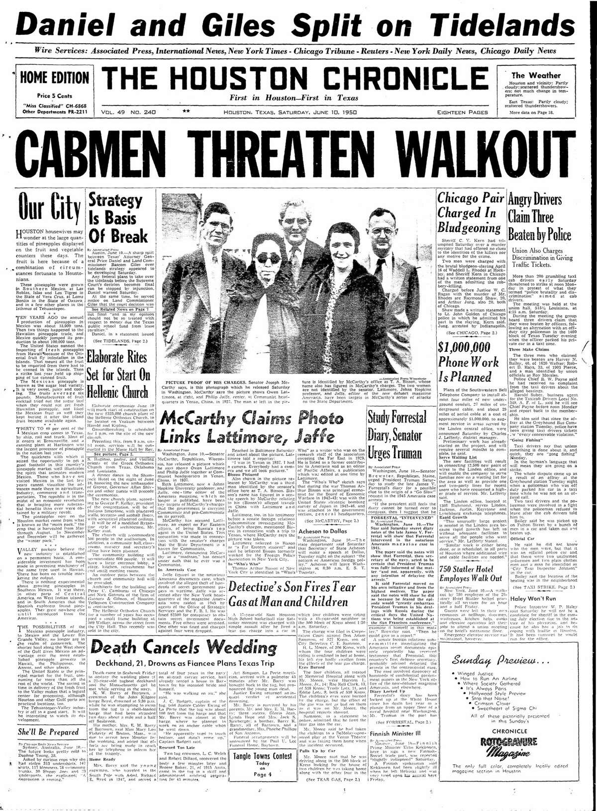 Houston Chronicle front page for June 10, 1950.