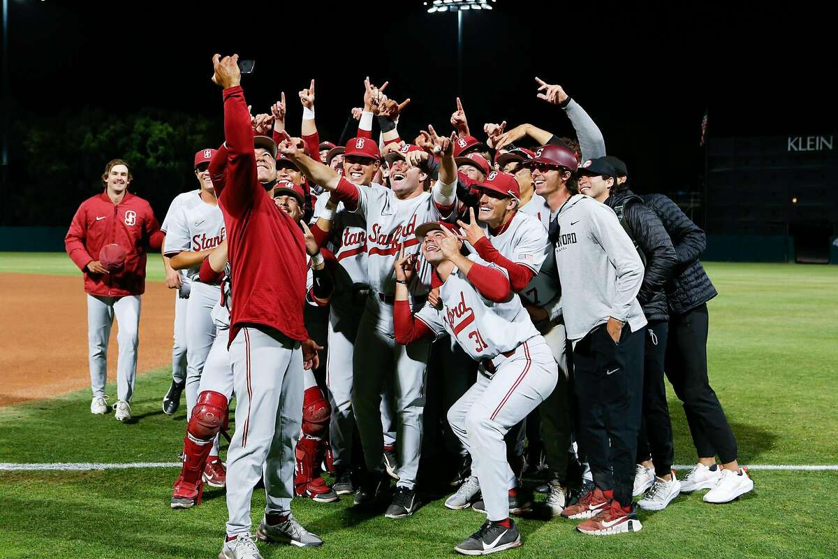Stanford players celebrate after beating UC Irvine to win their regional Monday night.