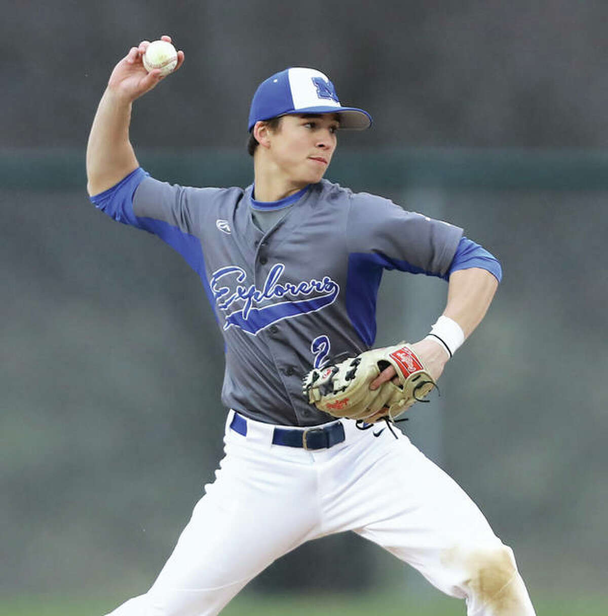 Marquette Catholic High grad Jayce Maag, who plays at Lindenwood University, had a two-run double for the Quincy Gems in their victory over the Alton River Dragons Wednesday night at Lloyd Hopkins Field. He is shown during his days playing for Marquette.