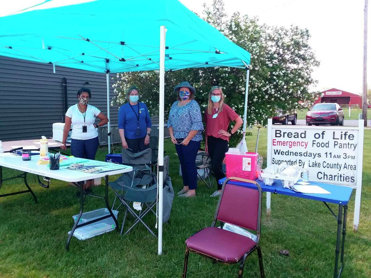 DHD No. 10 administered COVID-19 vaccines at Bread of Life Food Pantry last week.Pictured (left to right) is Qur'an Griffin, Cynthia Hutchins, Helen Smith and Ferris State University Nursing Student Tayler.(Submitted photo)