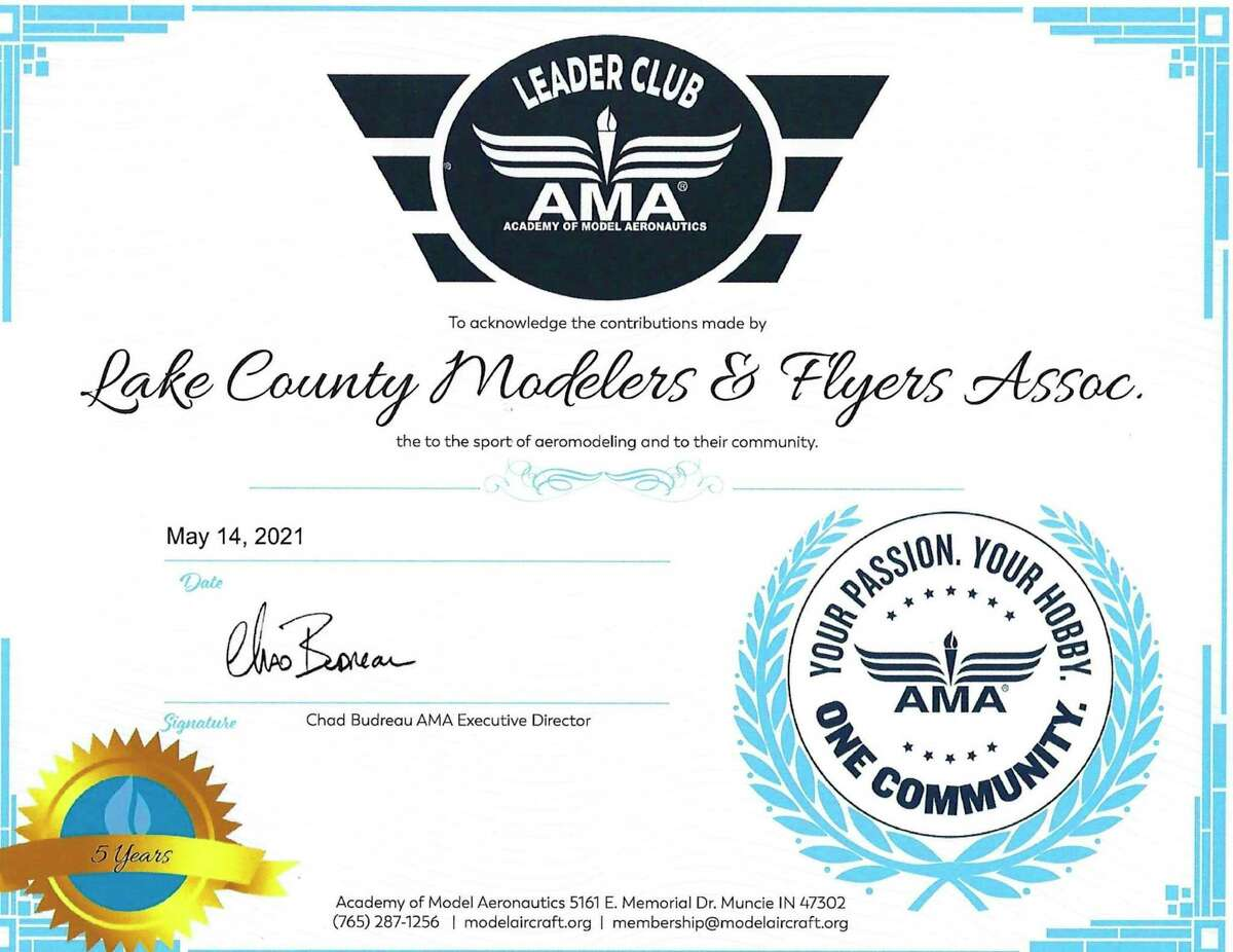 The Lake County Modelers and Flyers Association was presented with a leaders club award for the fifth year. (Submitted photo)