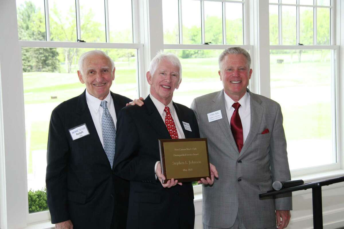 The New Canaan Men's Club is honoring Stephen L. Johnson with this year's, 2021, Distinguished Service Award, which is presented to a Men's Club member who has provided exceptional, long-term service to the Men's Club, the Town of New Canaan and surrounding communities. Pictured left to right are: Ralph Hills, chairman of the New Canaan Men's Club's Distinguished Service Award Committee; Steve Johnson, recipient of the Men's Club's 2021 Distinguished Service Award, and Keith Richey, the president of the Men's Club when the award was presented, recently.
