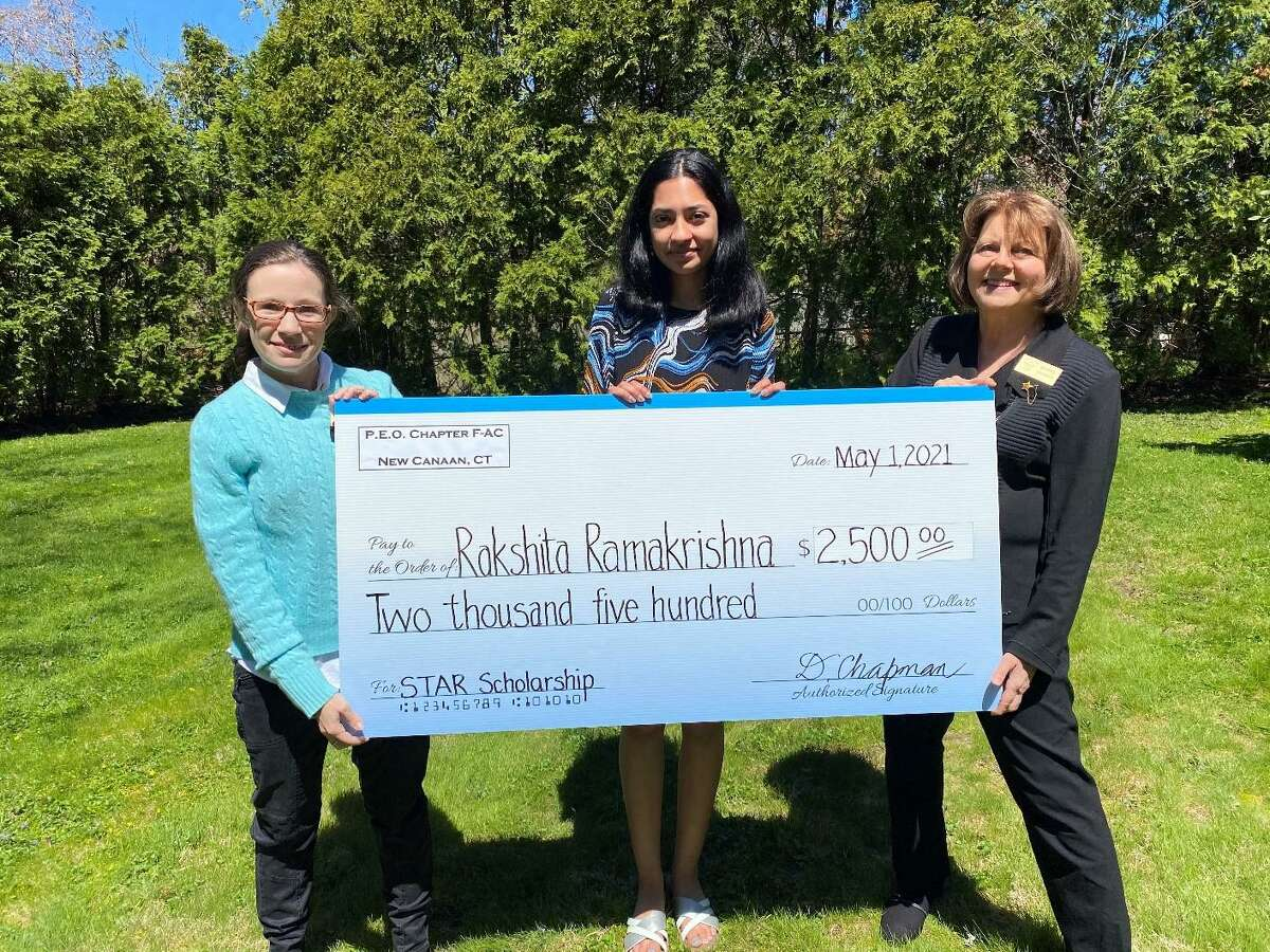 Rakshita Ramakrishna, who is a senior at Stamford High School, has been selected to receive a $2,500 STAR Scholarship from the P.E.O. Sisterhood. Ramakrishna was recommended by P.E.O. Chapter F-AC New Canaan, CT. P.E.O. Chapter F-AC, New Canaan, CT members, Angela Materna and Deborah Chapman, (far left and right,) present Rakshita Ramakrishna, (center,),with the STAR Scholarship in the form of a check.
