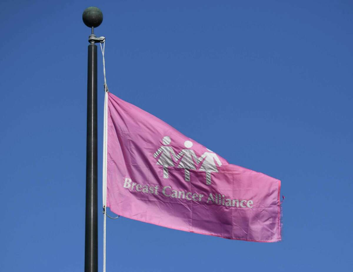 A Breast Cancer Alliance flag waves in the wind at the BCA flag-raising at Town Hall in Greenwich last year.