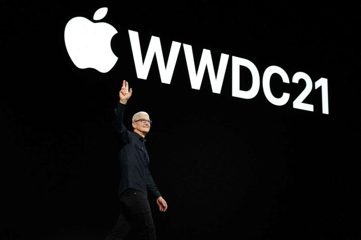 Apple CEO Tim Cook greeting developers around the world at Apple's Worldwide Developers Conference at Apple Park. - Apple kicked off its digital-only annual Worldwide Developer Conference June 7, where it unveiled the iOS 15, iPadOS 15, macOS 12 and watchOS 8.