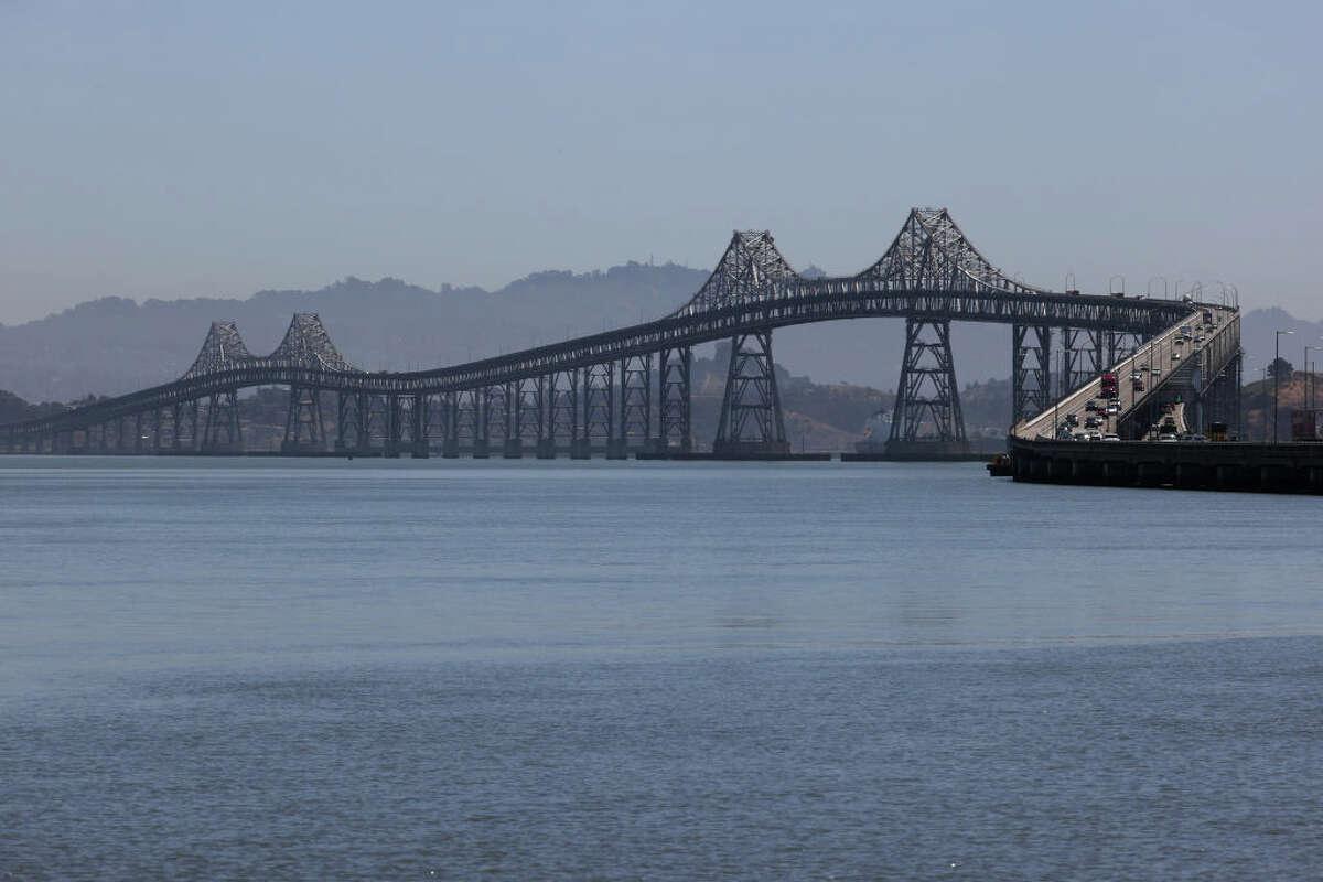 A view of the Richmond-San Rafael Bridge on April 28, 2021 in San Rafael, California.