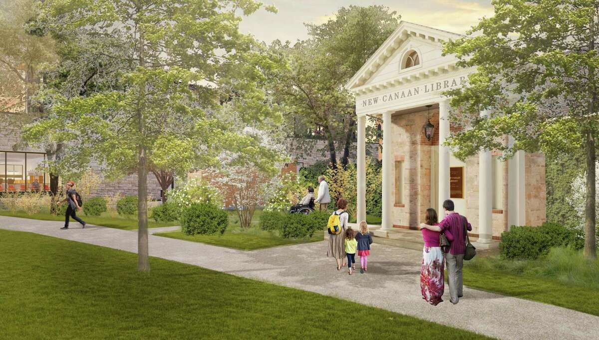 A rendering of a possible pavilion to memorialize the 1913 library. Executive Director Lisa Oldham told Hearst Connecticut Media that the rendering was not in the application before the Planning and Zoning Commission closed it, but she had described the concept in time. Received June 9, 2021.