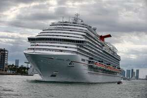 The Carnival Cruise Ship 'Carnival Vista' heads out to sea in the Miami harbor entrance known as Government Cut in Miami, Florida June 2, 2018. (Photo by RHONA WISE / AFP) (Photo credit should read RHONA WISE/AFP via Getty Images)