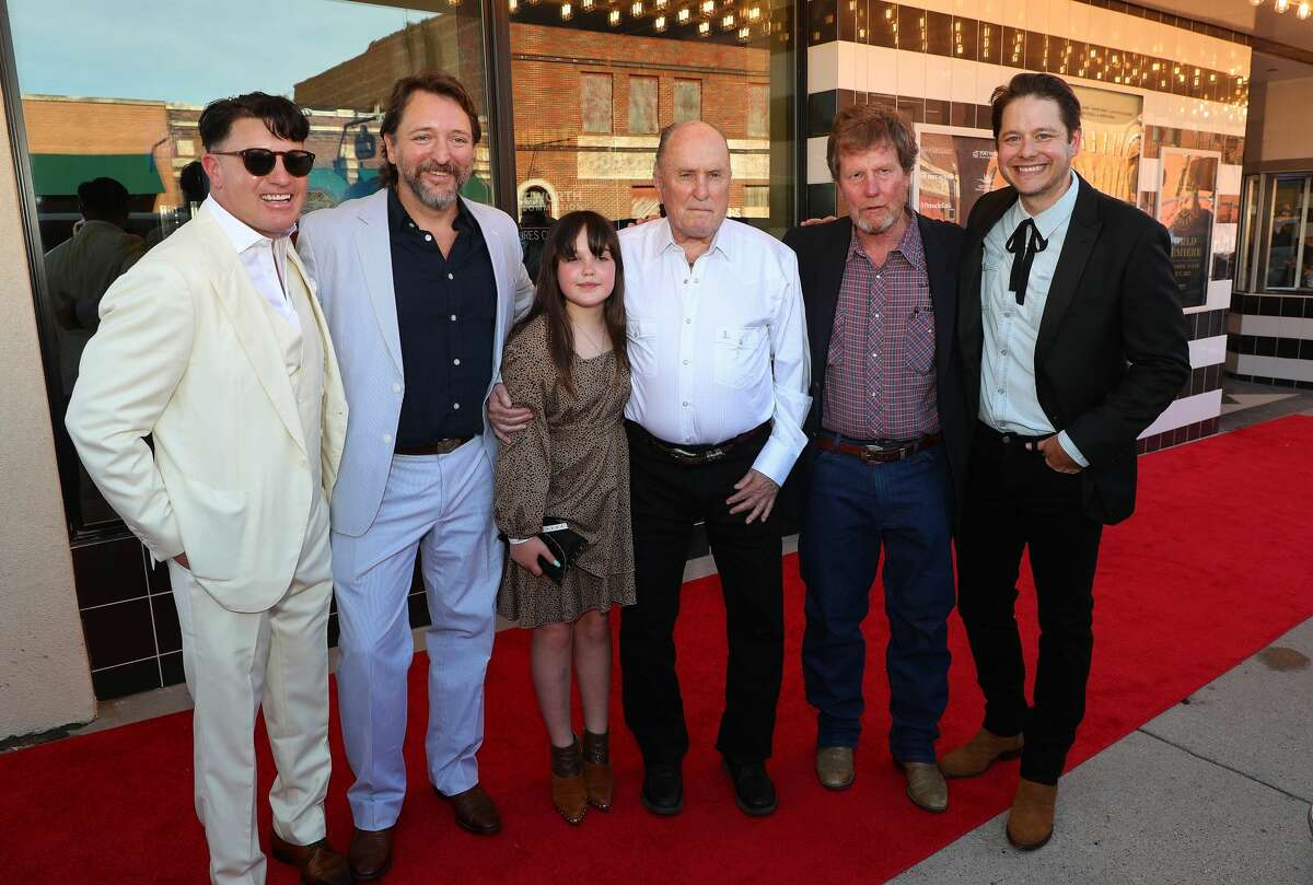 """FORT WORTH, TEXAS - JUNE 07: Lane Garrison, Ty Roberts, Robert Duvall, Rooster McConaughey and Houston Hill attend the Fort Worth Premiere of """"12 Mighty Orphans"""" at ISIS Theater on June 07, 2021 in Fort Worth, Texas. (Photo by Richard Rodriguez/Getty Images for Sony Pictures Classics)"""