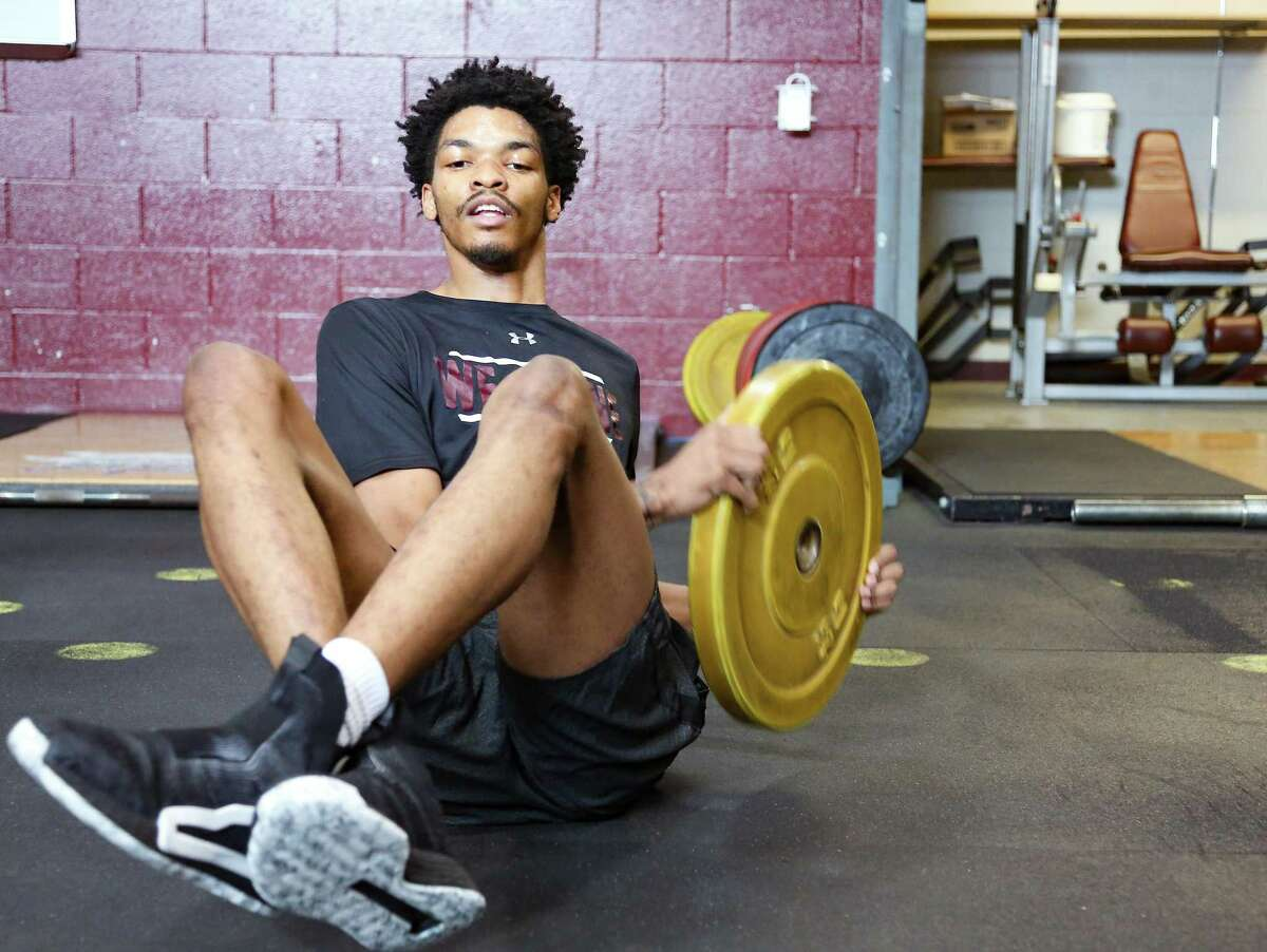 John Walker III works out with other members of Texas Southern's basketball team practice at the school's facility in Houston on Wednesday, April 28, 2021.