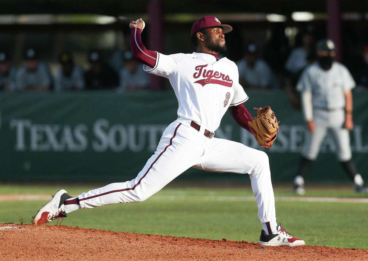 Texas Southern pitcher Kamron Fields (8) pitches against Ark.-Pine Bluff in Houston's MacGregor Park on Friday, March 12, 2021.